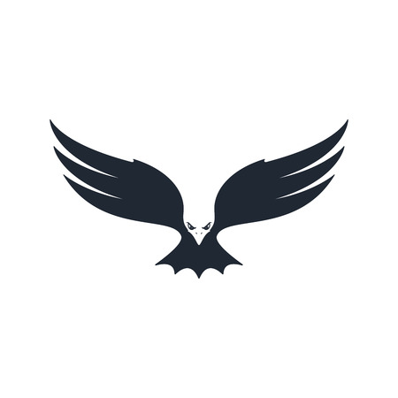 Eagle hunting. Eagle with negative space on white background. Vector illustration. Vettoriali