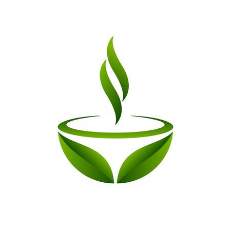 Diseño de taza y hojas de té verde. Símbolo de té verde sobre fondo blanco. Ilustración de vector.