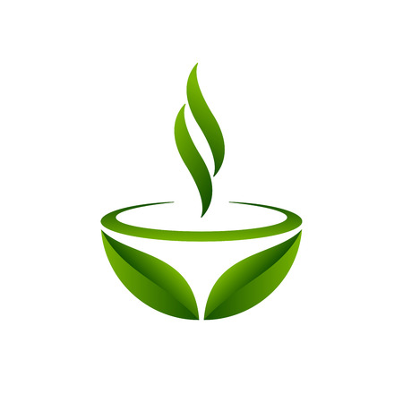 Progettazione di foglie e tazza di tè verde. Simbolo del tè verde su sfondo bianco. Illustrazione vettoriale.