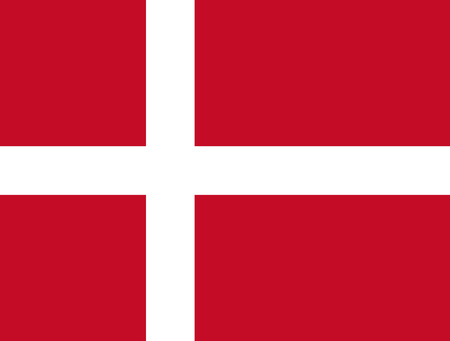 Flag design. Danish flag on the white background, isolated flat layout for your designs. Vector illustration.