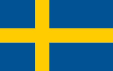 Conception du drapeau. Drapeau suédois sur fond blanc, mise en page plate isolée pour vos créations. Illustration vectorielle.