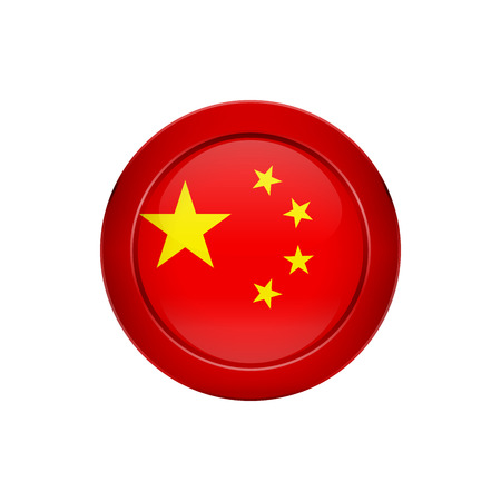 Flag button design. Chinese flag on the round button. Isolated template for your designs. Vector illustration.