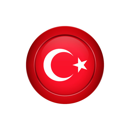 Flag button design. Turkish flag on the round button. Isolated template for your designs. Vector illustration.