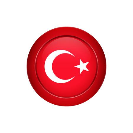 Conception de bouton de drapeau. Drapeau turc sur le bouton rond. Modèle isolé pour vos créations. Illustration vectorielle.