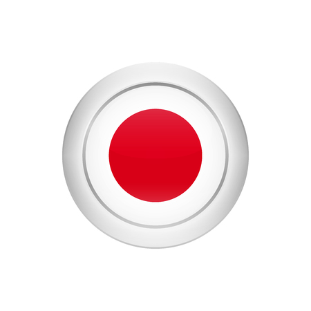 Flag button design. Japanese flag on the round button. Isolated template for your designs. Vector illustration.