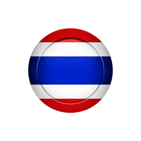 Flag design. Thai flag on the round button. Isolated template for your designs. Vector illustration.