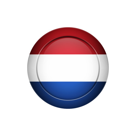 Flag design. Dutch flag on the round button. Isolated template for your designs. Vector illustration.