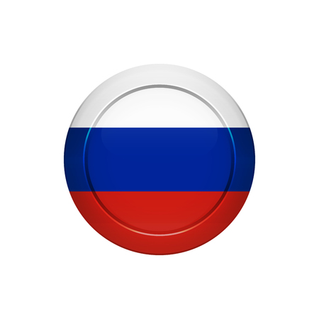 Flag button design. Russian flag on the round button. Isolated template for your designs. Vector illustration.