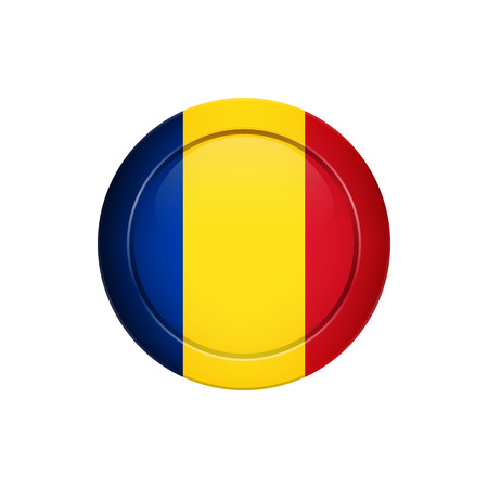 Flag design. Romanian flag on the round button. Isolated template for your designs. Vector illustration.