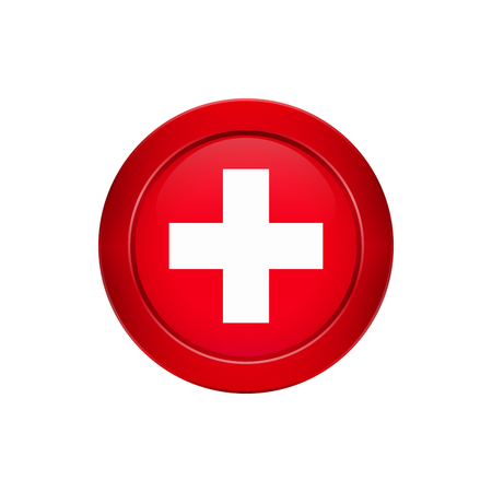 Flag button design. Swiss flag on the round button. Isolated template for your designs. Vector illustration.