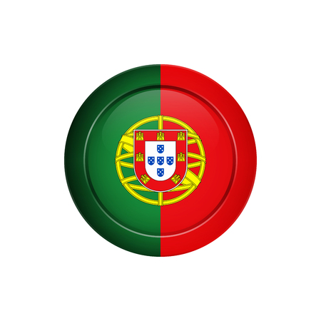 Flag design. Portuguese flag on the round button. Isolated template for your designs. Vector illustration.