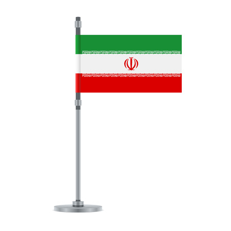 Flag design. Iranian flag on the metallic pole. Isolated template for your designs. Vector illustration. 向量圖像