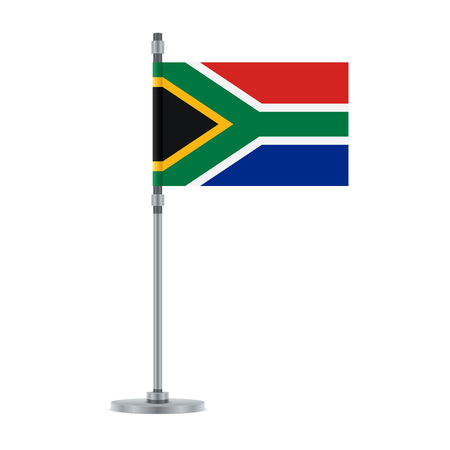 Flag design. South African flag on the metallic pole. Isolated template for your designs. Vector illustration.