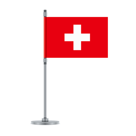 Flag design. Swiss flag on the metallic pole. Isolated template for your designs. Vector illustration. Illustration