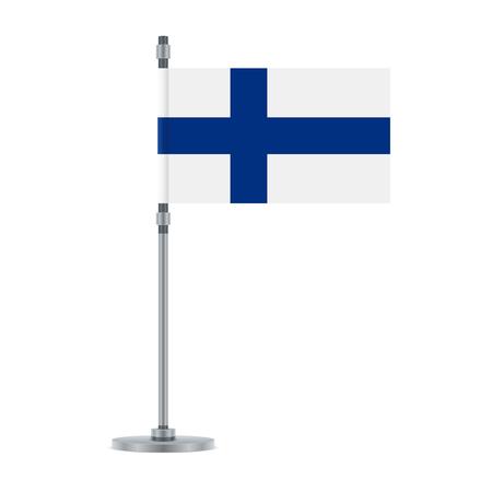 Conception du drapeau. Drapeau finlandais sur le poteau métallique. Modèle isolé pour vos créations. Illustration vectorielle.