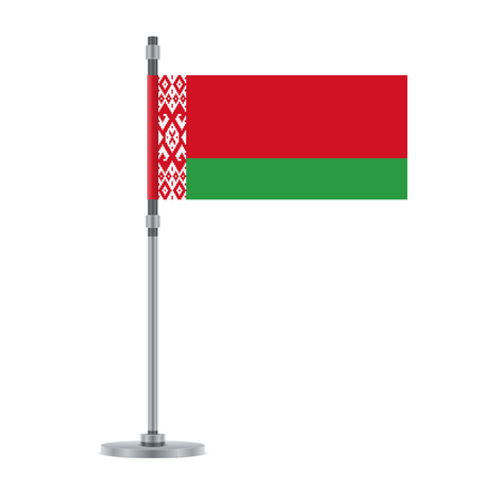 Flag design. Belarus flag on the metallic pole. Isolated template for your designs. Vector illustration.
