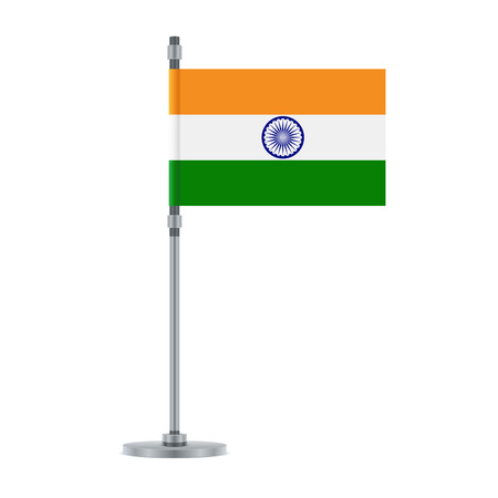 Flag design. Indian flag on the metallic pole. Isolated template for your designs. Vector illustration. Иллюстрация
