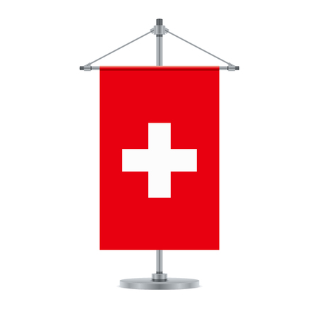 Flag design. Swiss flag on the cross metallic pole. Isolated template for your designs. Vector illustration.