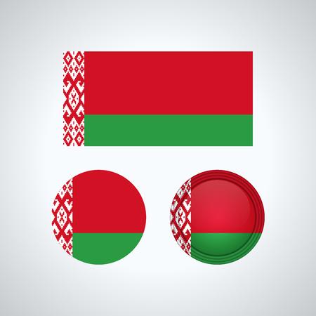Flag design. Belarus flag set. Isolated template for your designs. Vector illustration.