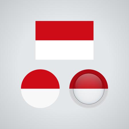 Flag design. Indonesian flag set. Isolated template for your designs. Vector illustration. Illustration