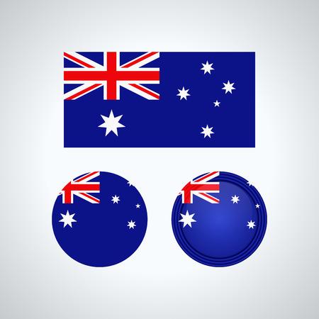 Flag design. Australian flag set. Isolated template for your designs. Vector illustration.