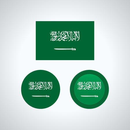 Flag design. Saudi Arabian flag set. Isolated template for your designs. Vector illustration. Illustration