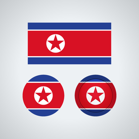Flag design. North Korean flag set. Isolated template for your designs. Vector illustration.