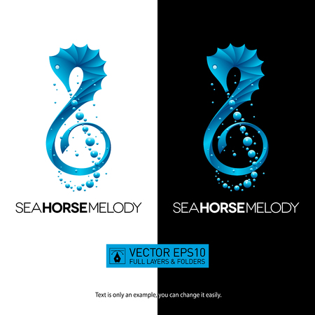 Seahorse-shaped music concept with treble clef for your designs. Isolated vector illustration logo on white background. Full layers and folders.