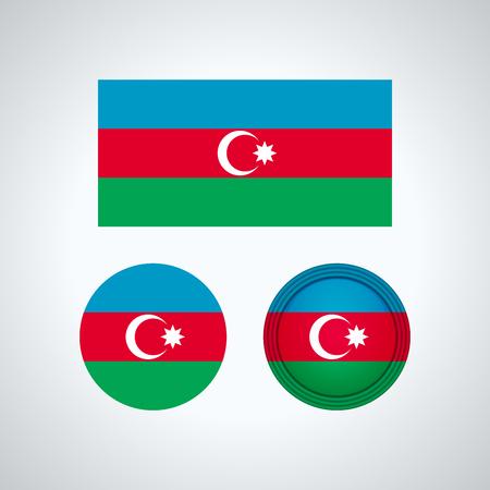 Flag design. Azerbaijan flag set. Isolated template for your designs. Vector illustration.