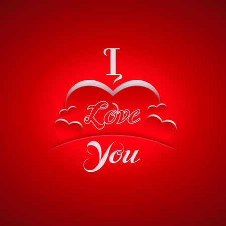 "Romantic greeting card design. ""I Love You"" background with hearts icon."