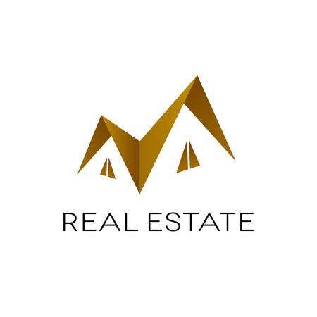 Design of real estate logo on white background. Roof shape. Isolated vector illustration.
