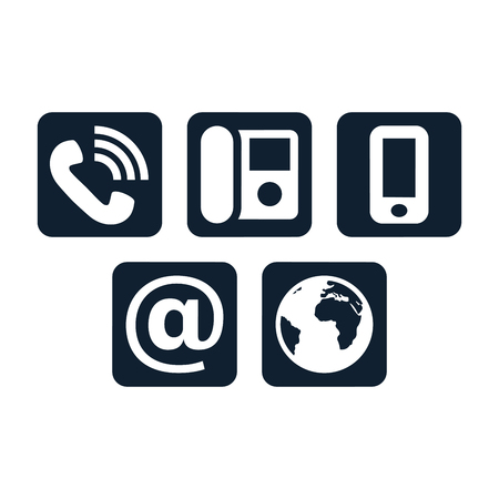 Contact icons on white background. Square shaped communication symbols.