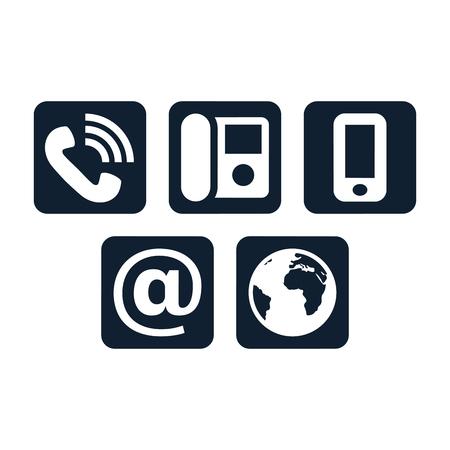 Kontaktsymbole auf weißem Hintergrund. Quadratische Kommunikationssymbole. Vektorgrafik