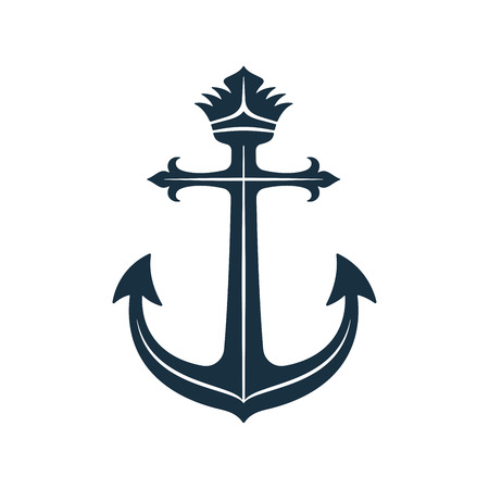 Vector anchor and crown design. Royal anchor on white background.