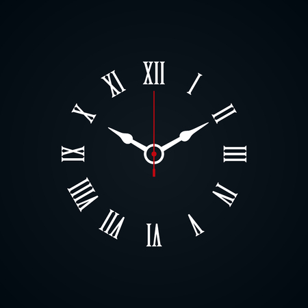 Roman numerals shaped minimal clock icon on black background.