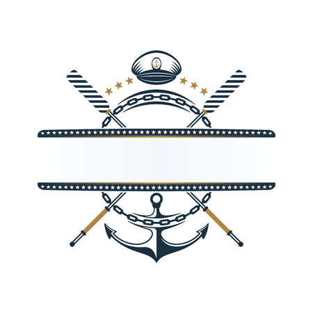 Anchor, oar, anchor chain, captains hat icons design. Nautical label on white background.