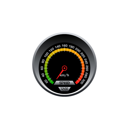 Cars speedometer on white background. Vector gauge design.