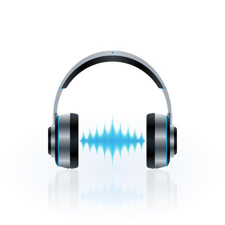 Metallic headphones design, sound waves icon. Vector illustration template.