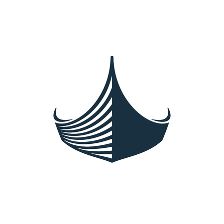 Wooden boat on white background. Vector illustration icons. Иллюстрация