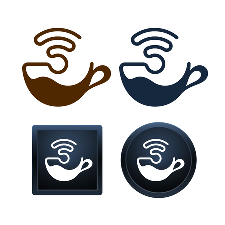 Design of wifi coffee icons on white background. Minimal isolated vector illustrations.