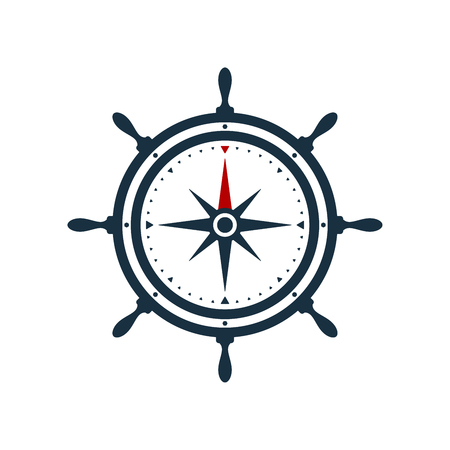 Ship wheel and compass rose on white background. Nautical icon design. Illustration