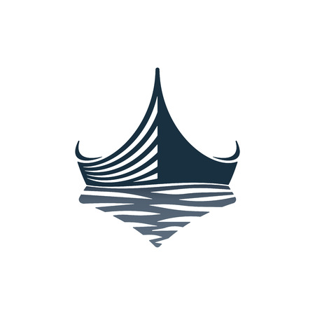 Wooden boat and waves on white background. Vector illustration icons.