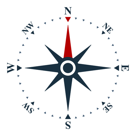 Wind rose on white background. Vector compass design