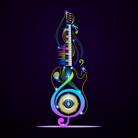 Unique musical instruments on black background. Vector instruments design.