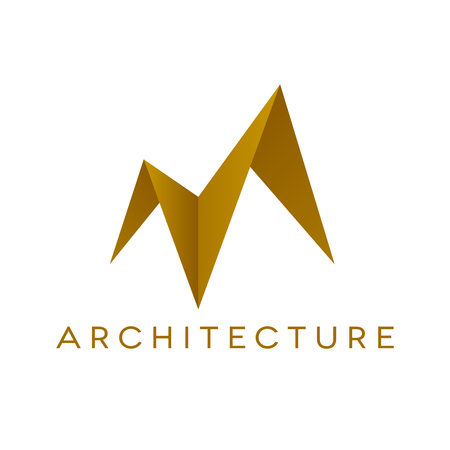 Design of architecture logo on white background. Roof shape. Isolated vector illustration.