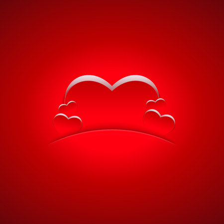 Heart shapes on red background. Romantic background design.