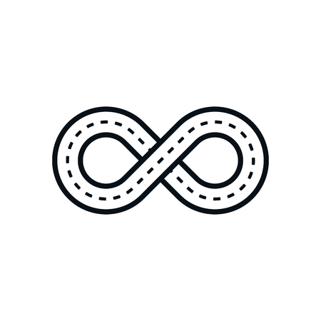 Road shaped infinity symbol on white background. Иллюстрация