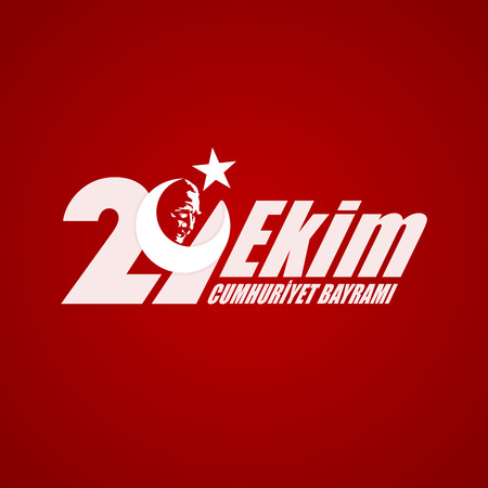 29 Ekim Cumhuriyet Bayrami Kutlu Olsun. Translation: October 29, Republic Day of Turkey. Greeting card concept on red background.