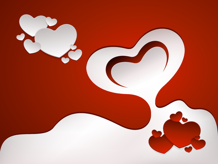 Romantic greeting card with red and white hearts shapes. Vector background design. Illustration