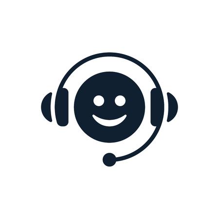 Call center icon on white background. Flat vector emoticon design.
